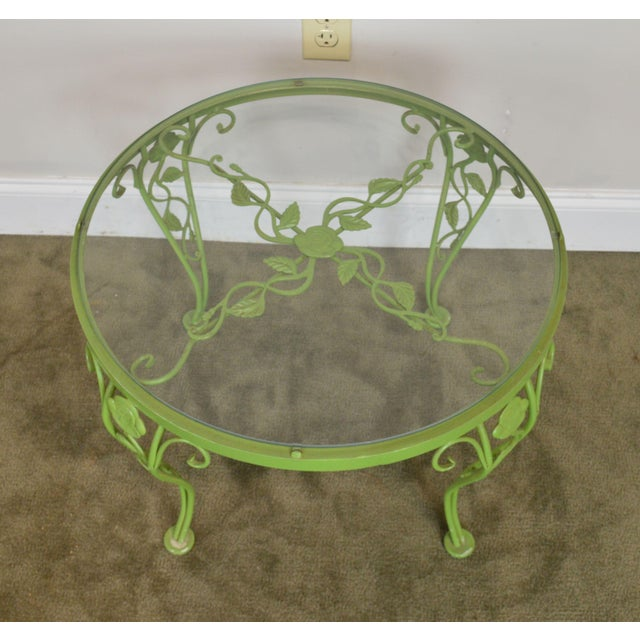 Metal Woodard Chantilly Rose Garden Vintage Green Painted Wrought Iron Round Patio Side Table For Sale - Image 7 of 13