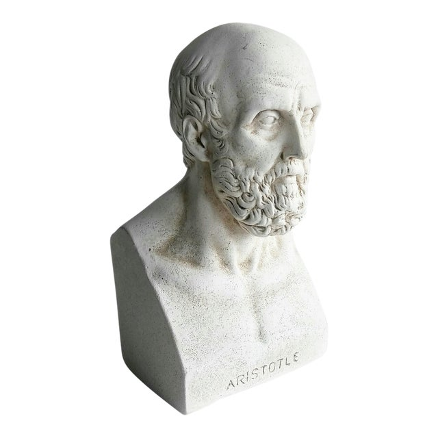 1960s Vintage Grecian Plaster Statue Aristotle Bust For Sale