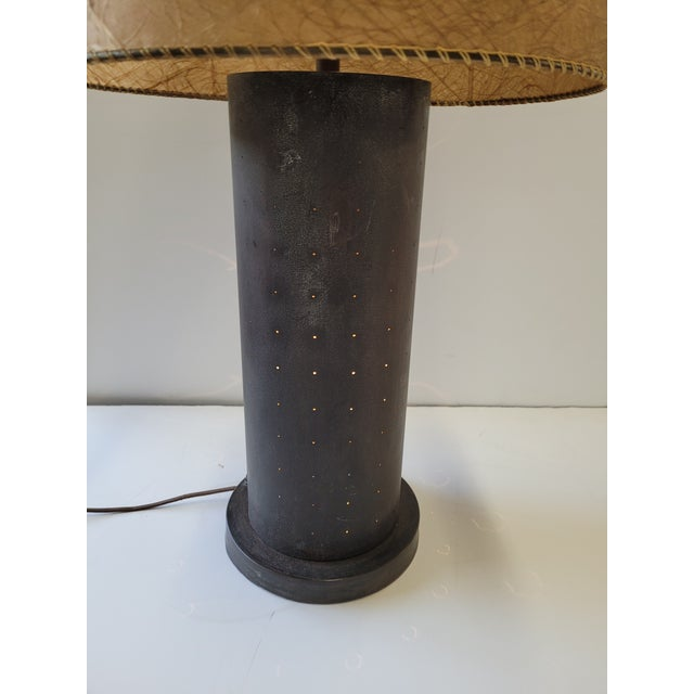 Mid-Century Modern 1960s Mid-Century Table Lamp With Pinhole Lights & Vintage Shade For Sale - Image 3 of 9