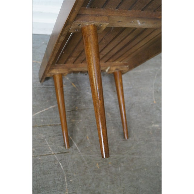 Mid-Century Modern Slat Tables / Benches - Pair - Image 8 of 10