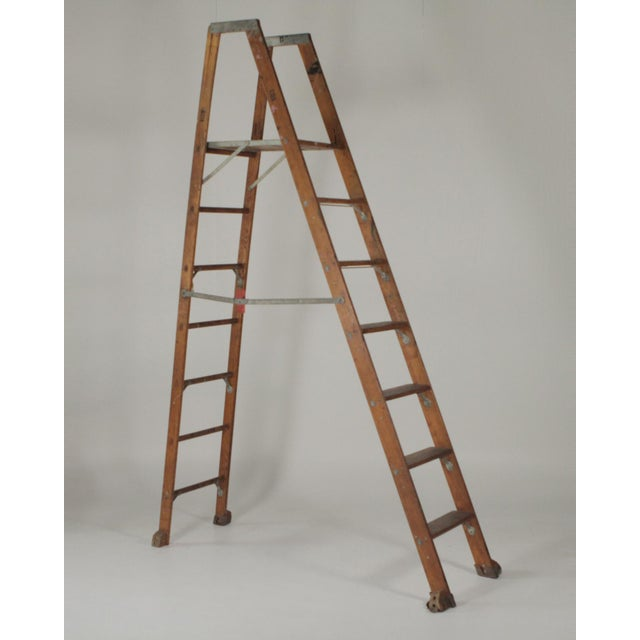 1920s Industrial Folding Ladder With Standing Platform For Sale - Image 9 of 9