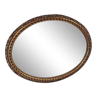 1930s Italian Gold Gilt Oval Wall Mirror For Sale