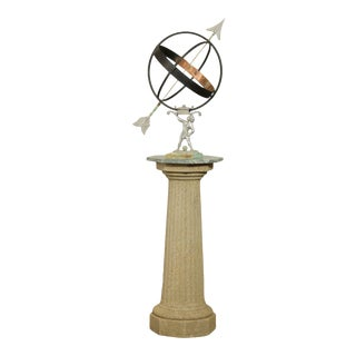 Bronze And Metal Armillary On Marble And Stone Column For Sale