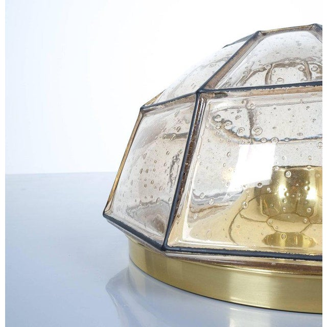 Mid-Century Modern Glashütte Limburg Brass and Glass Flush Mount Ceiling Lamp, Germany, 1960 For Sale - Image 3 of 4