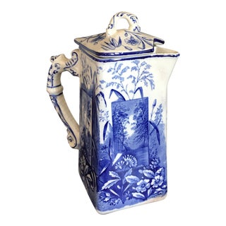 1880s Blue White Transferware Ironstone Pitcher With Lid For Sale