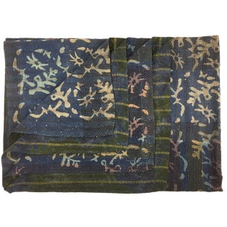 Indigo and Emerald Vintage Kantha Quilt | Batik Quilted Sari Throw For Sale