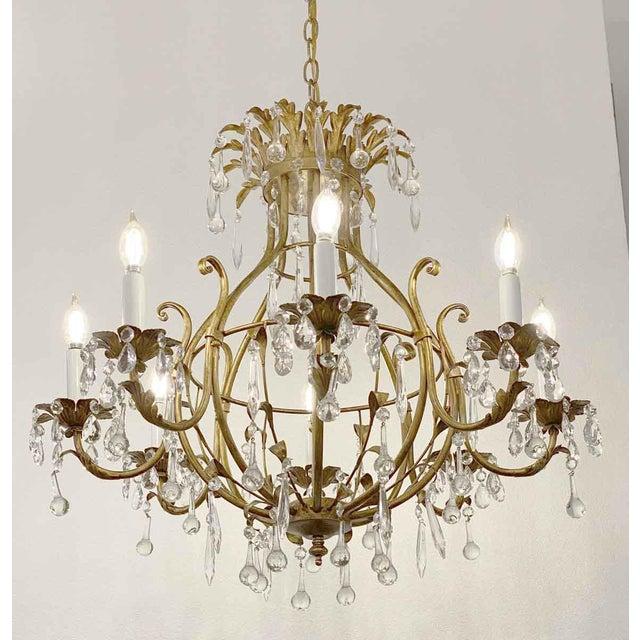 Metal Florentine Style Crystal & Gilt Metal Chandelier For Sale - Image 7 of 10
