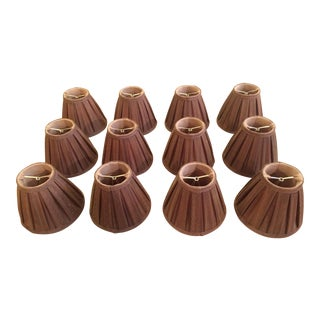 Brown Silk Chandelier Lamp Shades With Mocha Silk Lining - Set of 12 For Sale