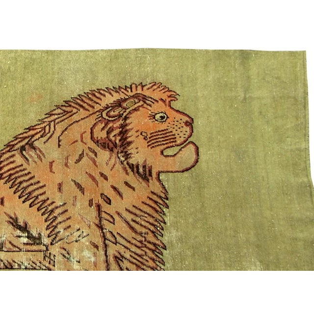 Extremely fine antique Samarkand with lion design, handmade and hand-knotted, one of the kind, the only lion collection in...