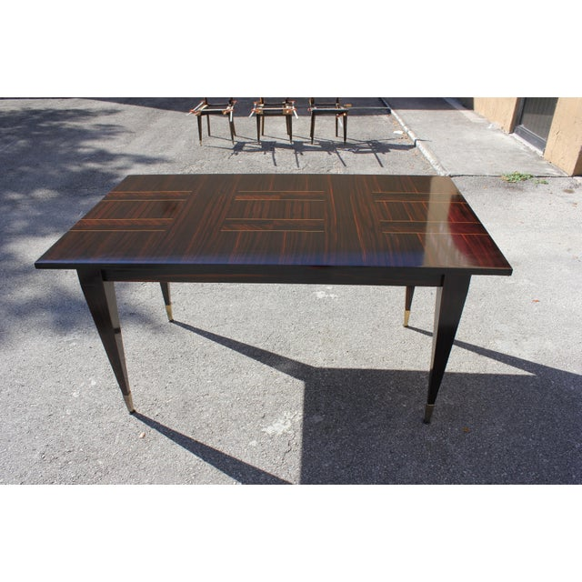 1940s Art Deco Exotic Macassar Ebony Writing Desk / Dining Table For Sale In Miami - Image 6 of 13