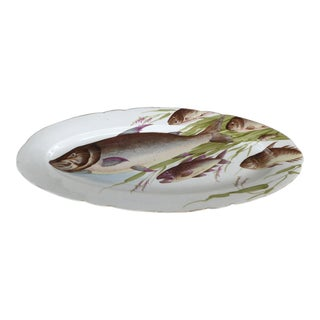 Antique Bawo Dotter Karlsbad Bbd Carlsbad Austria Hand-Painted Fish Platter For Sale