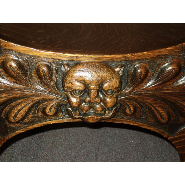Antique Carved North Wind Face & Lion's Heads Oak Throne Chair For Sale In  Saint Louis - Antique Carved North Wind Face & Lion's Heads Oak Throne Chair