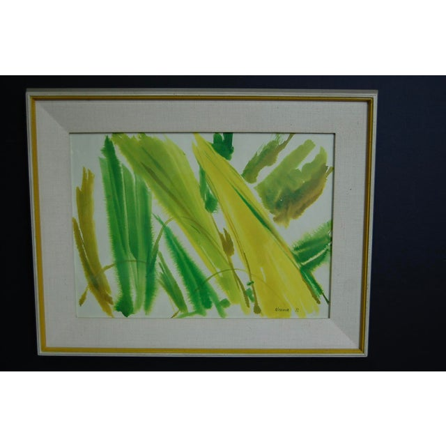 Tropical Leaves Framed Water Color by Norma Green For Sale - Image 4 of 9