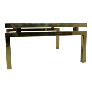 Gold Etched Glass Coffee Table on an elegant Brass frame