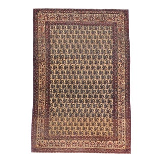 Antique Brown Lavar Kerman Persian Area Rug For Sale