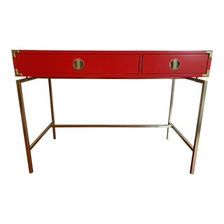 Malone Campaign Desk in Vermillion Red Lacquer and Brass by West Elm For Sale