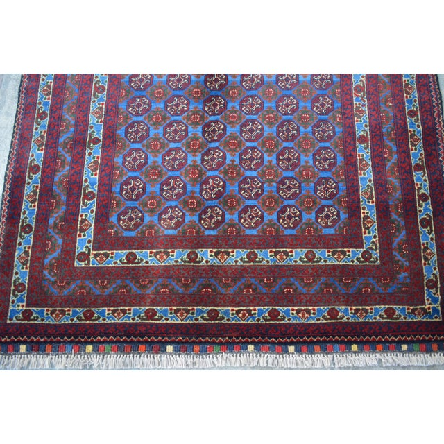 Traditional Bokhara Hand-Knotted Raspberry Red and Sky Blue Wool Rug For Sale - Image 4 of 6