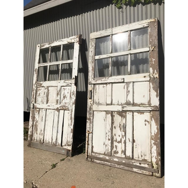 Early 1900s Beautiful Antique American Barn Doors in original surface white  paint. Amazing as sliders - Antique Sliding Barn/Garage Doors - A Pair Chairish