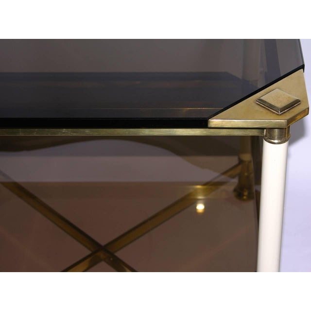 Vivai Del Sud 1970s Smoked Glass and Ivory Brass Side Tables - a Pair For Sale - Image 9 of 11