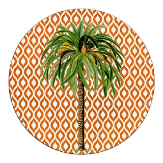 Italian Round Red Palm Tree Placemat For Sale