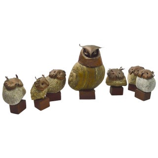 Seven-Piece Collection Brutalist Owls With Copper Heads and Feet With Stone Body For Sale