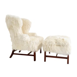 Large Wingback Chair and Ottoman in Angora Goatskin For Sale