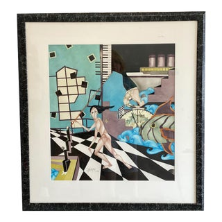 1987 Surrealist Watercolor Painting Signed Scheurer For Sale