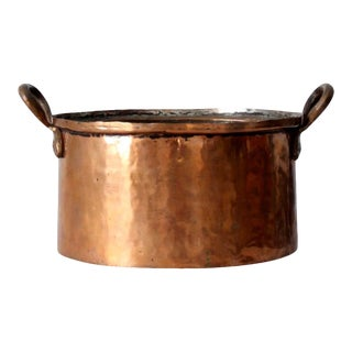 Antique Copper Double Handle Pot For Sale