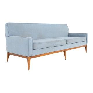 Paul McCobb Style Mid Century Blue Sofa For Sale