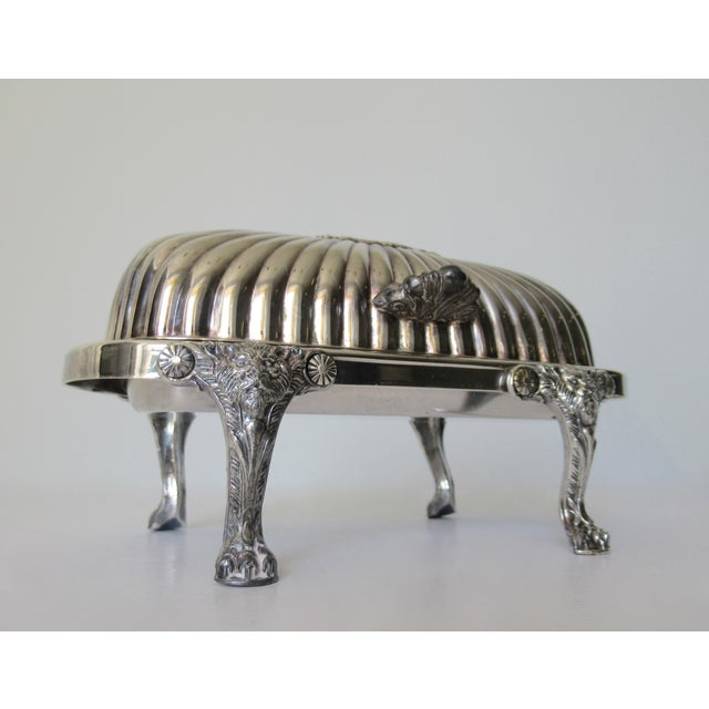F.B. Rogers Silver Co. Wm. Rogers Silver Plate Platform Claw Footed Domed Butter Dish -2 Pieces For Sale - Image 4 of 13