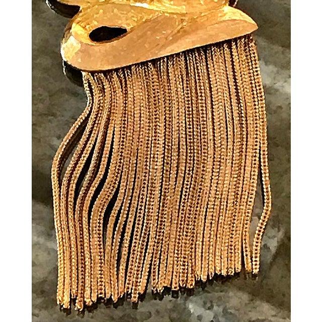 Vintage 1960s Gold Medallion Pendant Dangles Fringe Sandor Large Statement Necklace For Sale - Image 4 of 7