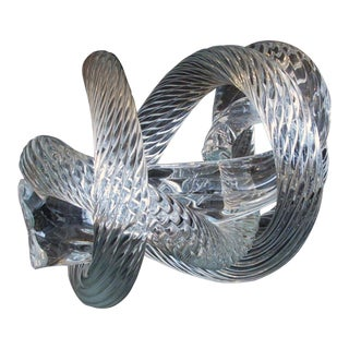 A Well-Crafted and Heavy Glass Rope Knot by Fusion Z Glassworks; With Acid Etched Signature For Sale