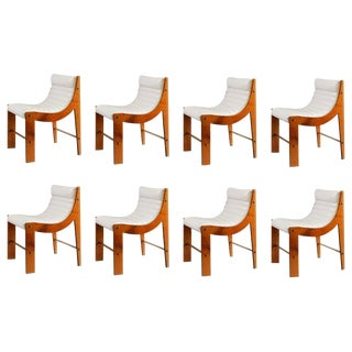 Jacques Quinet Set of Eight Cherrywood and Leather Dining Chairs For Sale