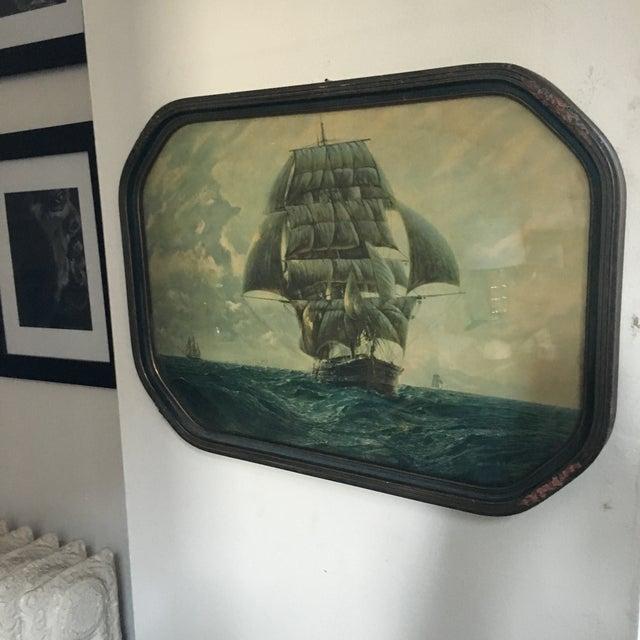 Antique Framed Ship Print For Sale - Image 4 of 11