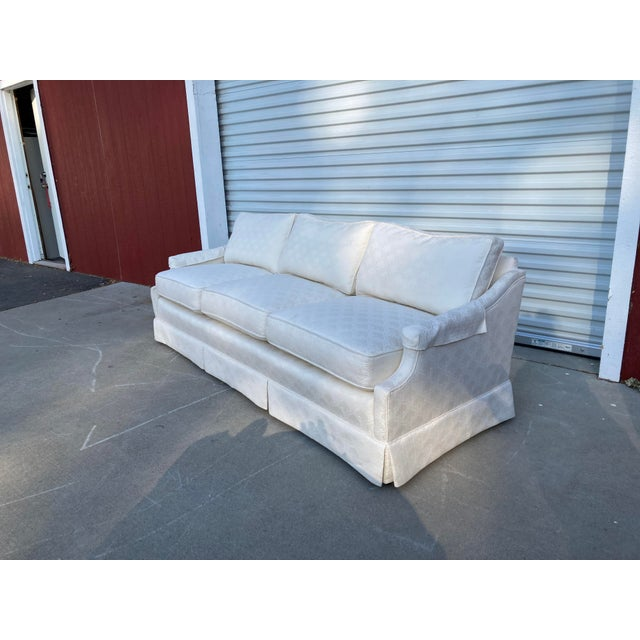 Mid-Century White Tuxedo Skirted Sofa For Sale - Image 13 of 13