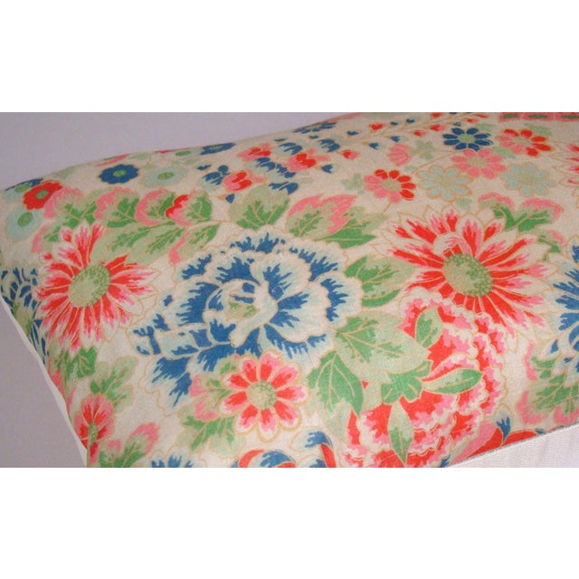 2010s Chinese Silk Floral Lumbar Pillow Cover For Sale - Image 5 of 9