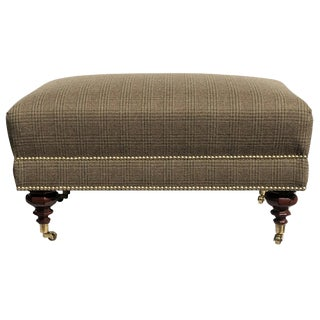 New 2020 Edwardian Bench Ottoman Brass Nails Solid Brass Casters Ralph Lauren Fabric For Sale