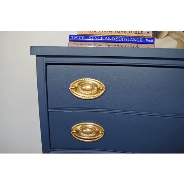 Bassett Serpentine Flat Navy-Blue and Gold Highboy Dresser - Image 7 of 11