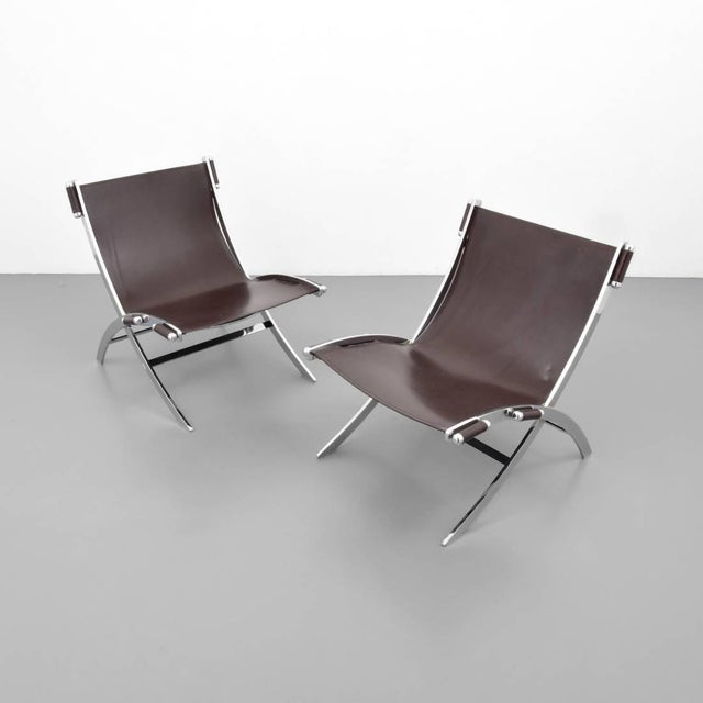 Mid-Century Modern Pair of FlexForm Chrome and Leather Lounge Chairs, 1960s, Itay For Sale - Image 3 of 5