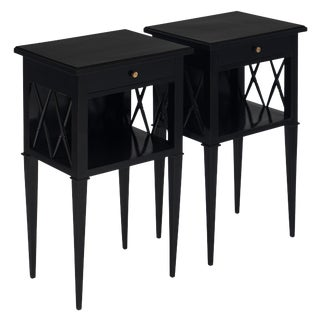 Antique Directoire Style Ebonized Side Tables - a Pair For Sale
