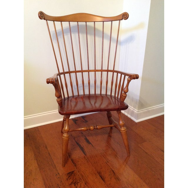 Ethan Allen Windsor High Back Arm Chair - Image 3 of 10