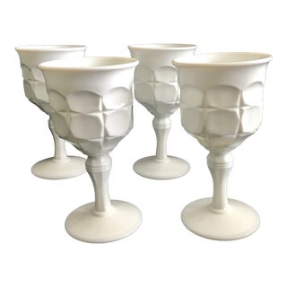 Contemporary Oversized White Glass Wine Glasses - Set of 4 For Sale
