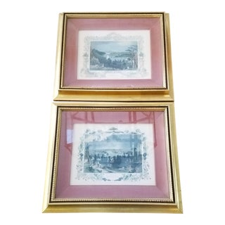 Vintage Framed French Engravings, a Pair For Sale