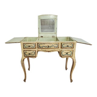 20th Century Antique Victorian Louis XV Style Painted Vanity Dressing Table For Sale