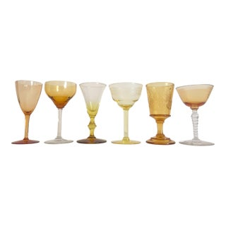 Vintage Mid Century Collected Amber Yellow Petit Wine Glasses - Set of 6 For Sale
