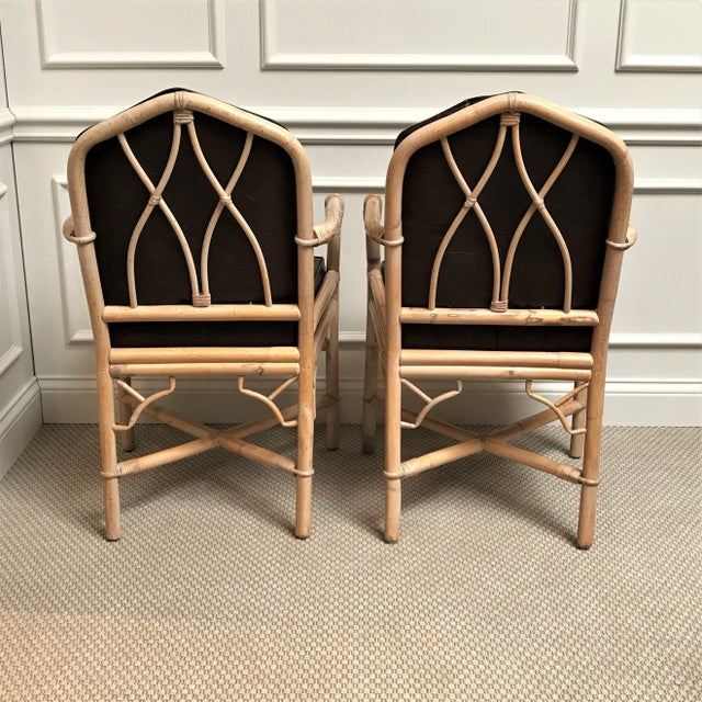 1960s Chinoiserie Rattan Dining Table & Chairs - 5 Pieces For Sale - Image 4 of 13