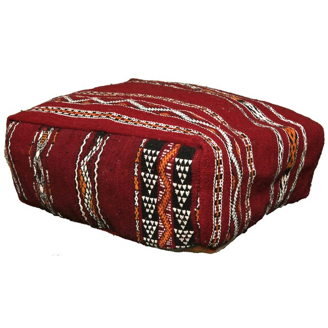 Handmade Moroccan Striped Berber Pouf - Image 2 of 3