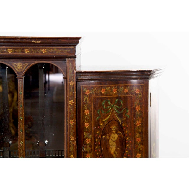 Glass Edwardian Classical Painted Antique Console Cabinet Circa 1860-80 For  Sale - Image 7 - Edwardian Classical Painted Antique Console Cabinet Circa 1860-80