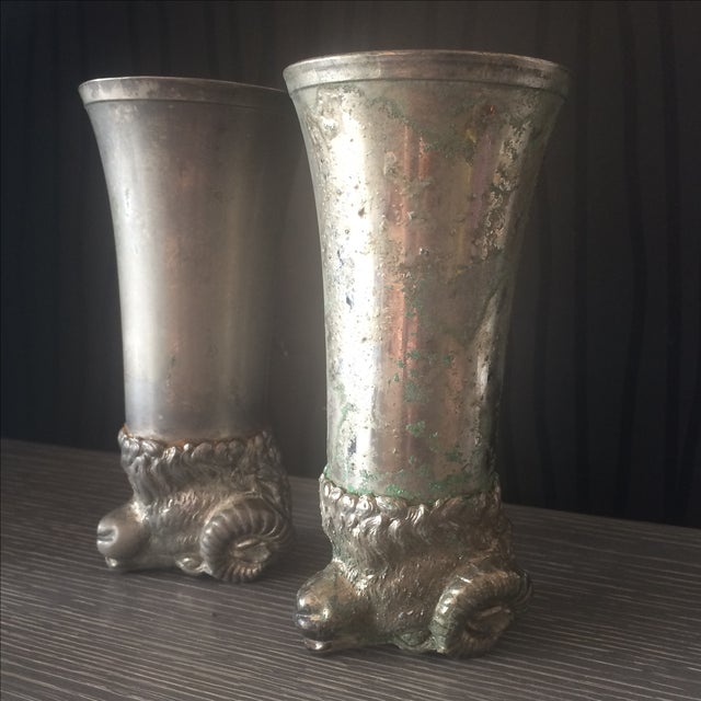 Silver Plated Pewter Ram Stirrup Cups - A Pair - Image 3 of 9