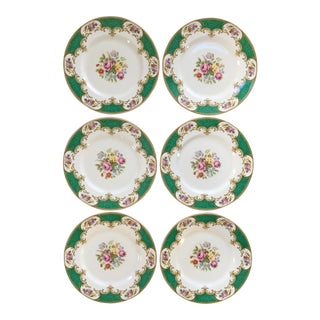 Made in England-Early 20th Century Antique Myott Royal Crown Staffordshire China Plates - Set of 6 For Sale
